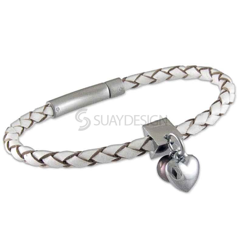 Women's White Plaited Leather Bracelet with Steel Heart & Pearl Charms