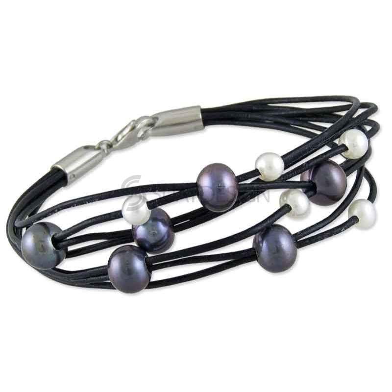 Women's Black Multi Strand Leather Bracelet with Grey & White Pearls