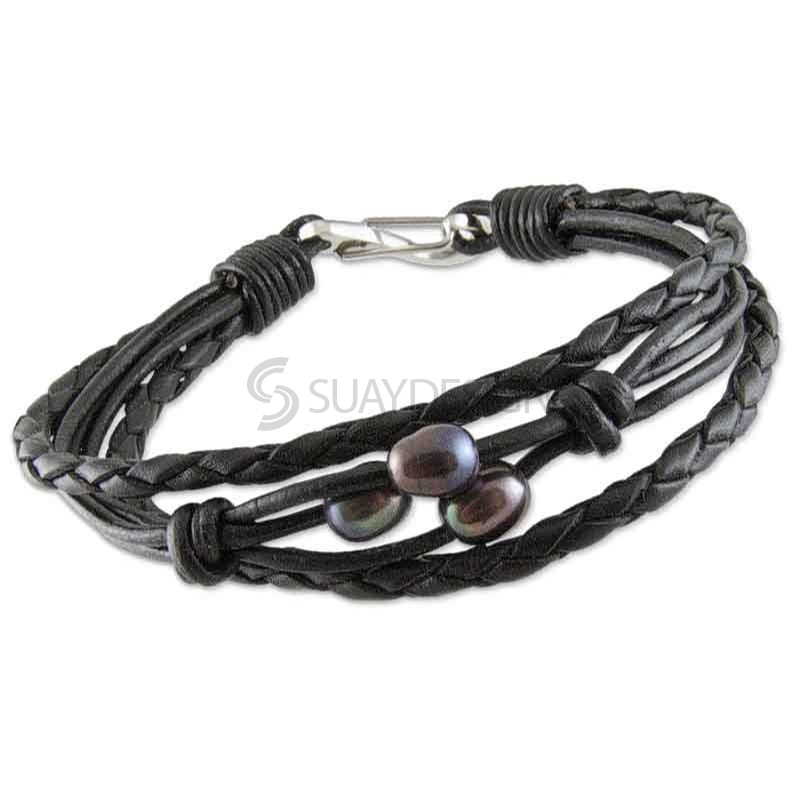 Women's Black Plaited Multi Strand Leather Bracelet with Black Pearls