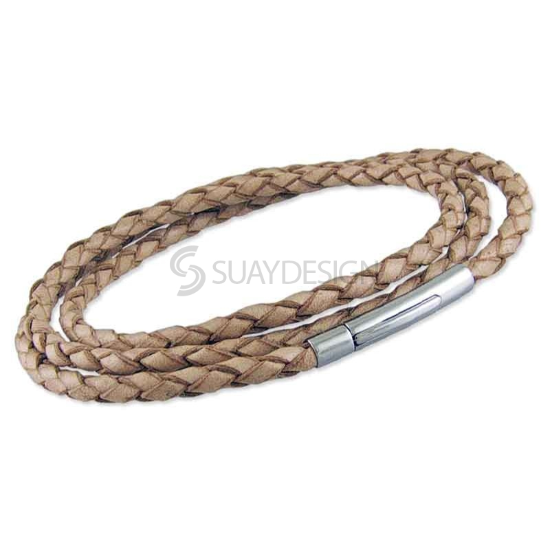 Women's Thin Plaited 3mm Natural Triple Wraparound Leather Bracelet