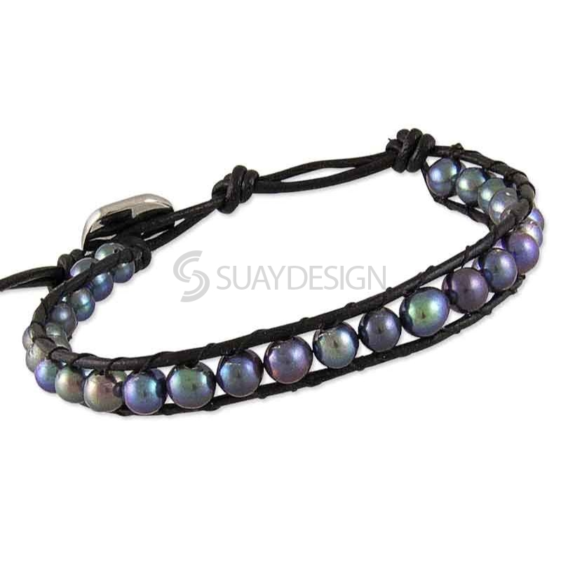 Women's Adjustable Black Leather Friendship Bracelet with Black Pearls