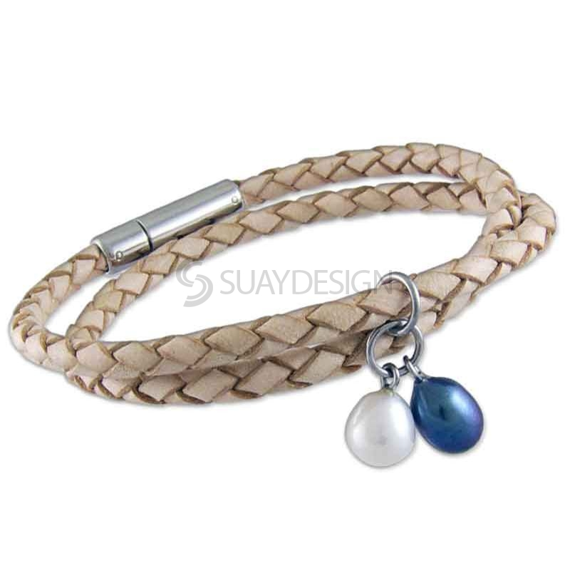 Women's Natural Double Wraparound Plaited Leather With Two Pearls