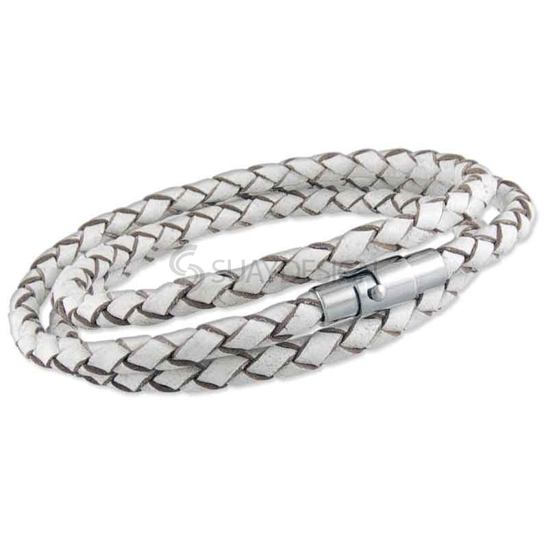 Women's White Plaited Leather Triple Wraparound Bracelet