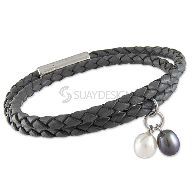 Women's Grey Plaited 4mm Double Wraparound Leather Bracelet with Black and White Pearls