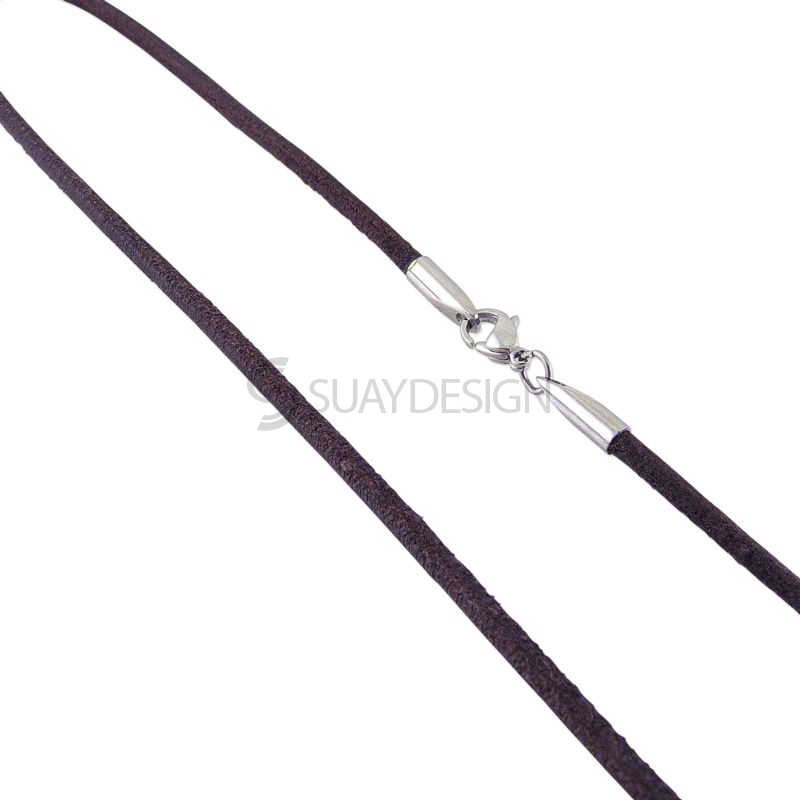 Soft Round 2.5mm Brown Leather Necklace with Steel Clasp