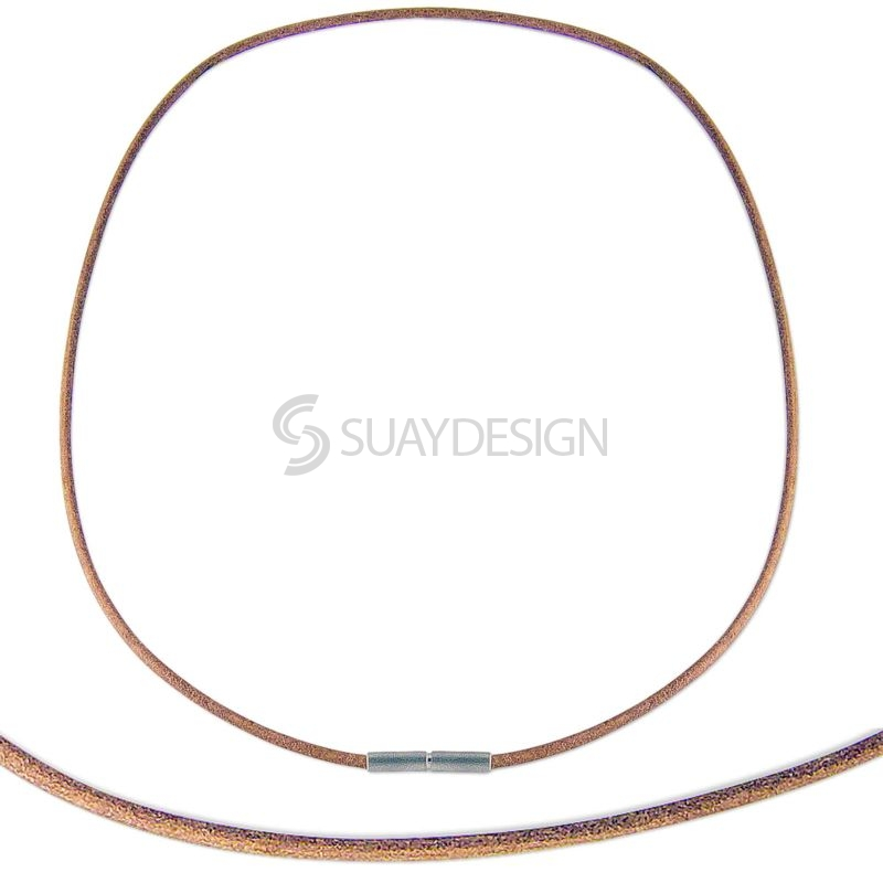 Fine 2mm Natural Leather Necklace with Steel Clasp