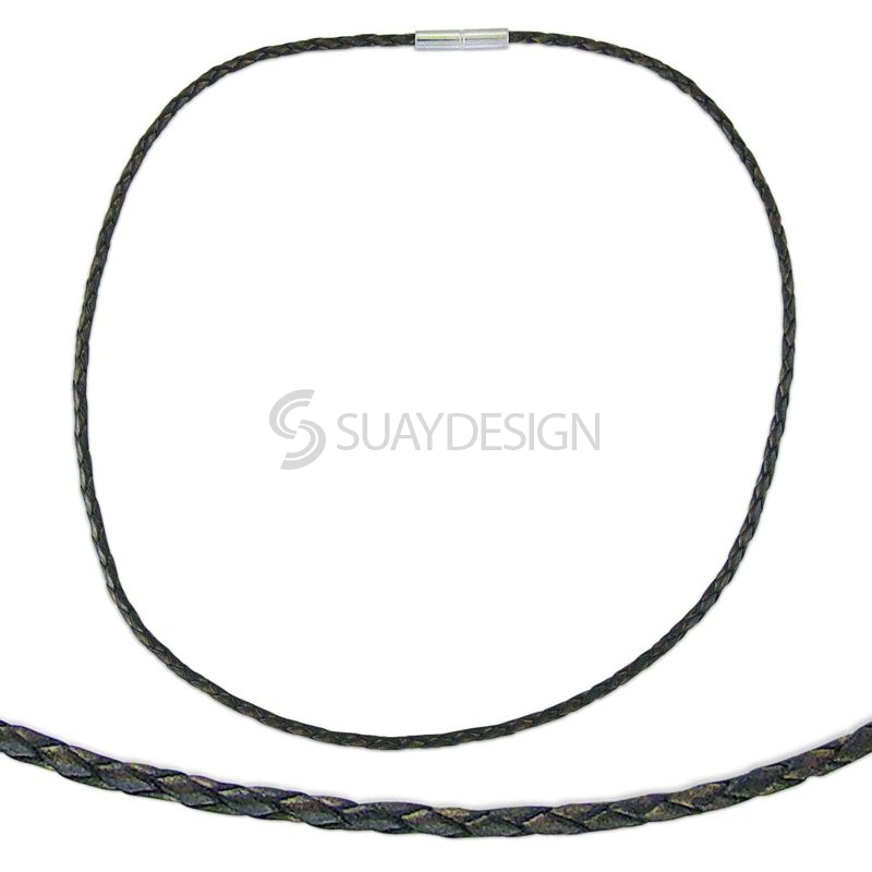 Women's Thin Woven 2.5mm Brown Leather Necklace with Steel Clasp