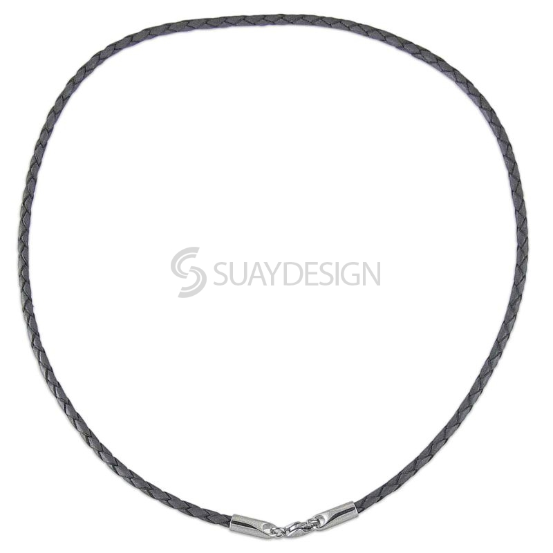Women's Thin 2.5mm Plaited Grey Leather Necklace with Steel Clasp