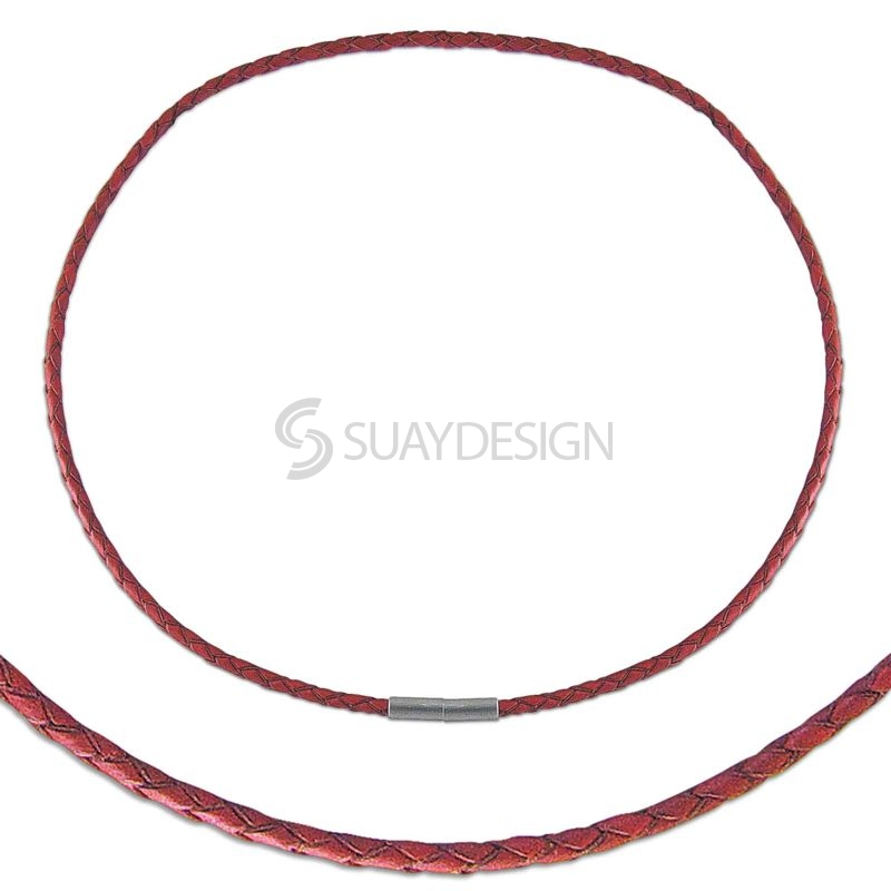 Women's Thin Plaited 3mm Red Leather Necklace with Steel Clasp