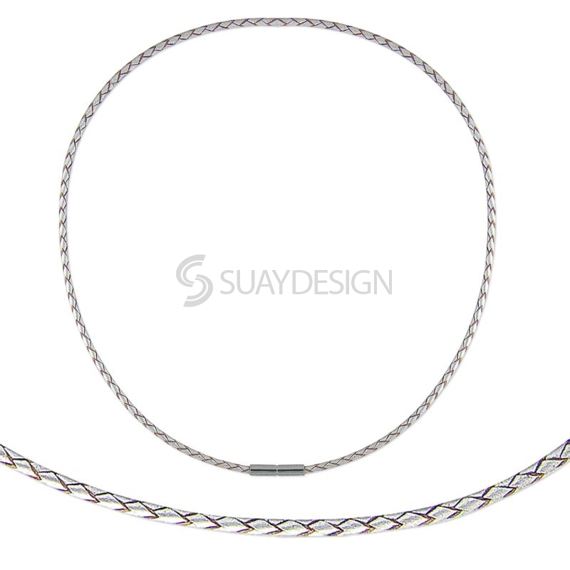 Women's Fine Metallic Pearl Plaited 3mm Leather Necklace