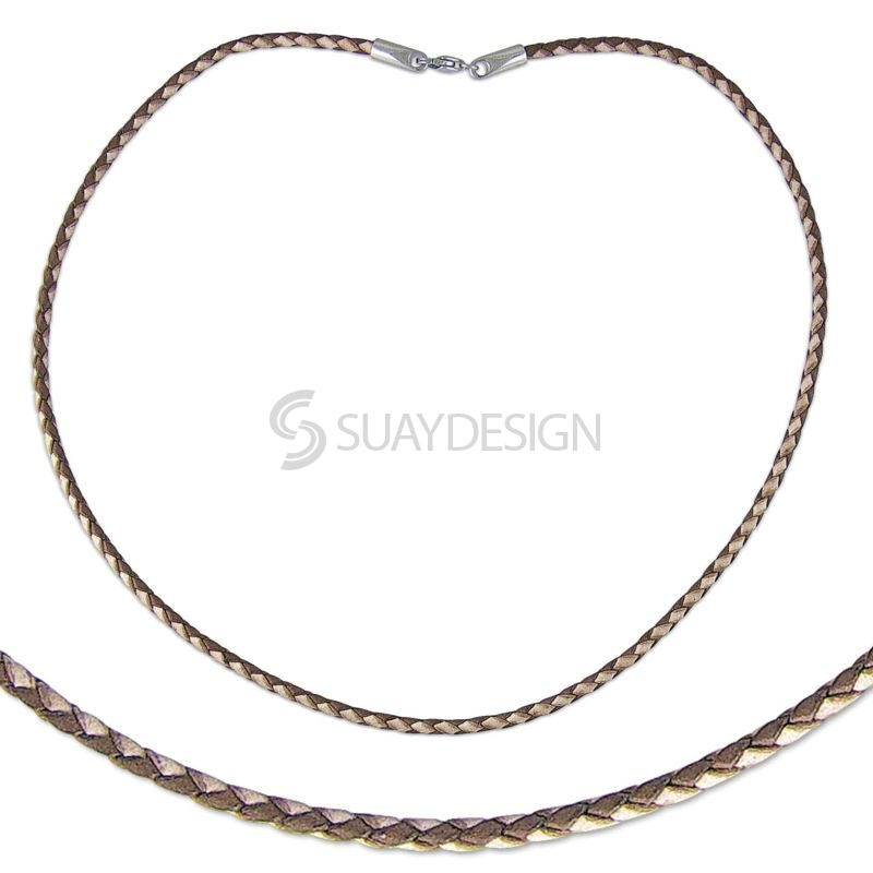 Two Tone 2.5mm Natural & Light Brown Plaited Leather Necklace