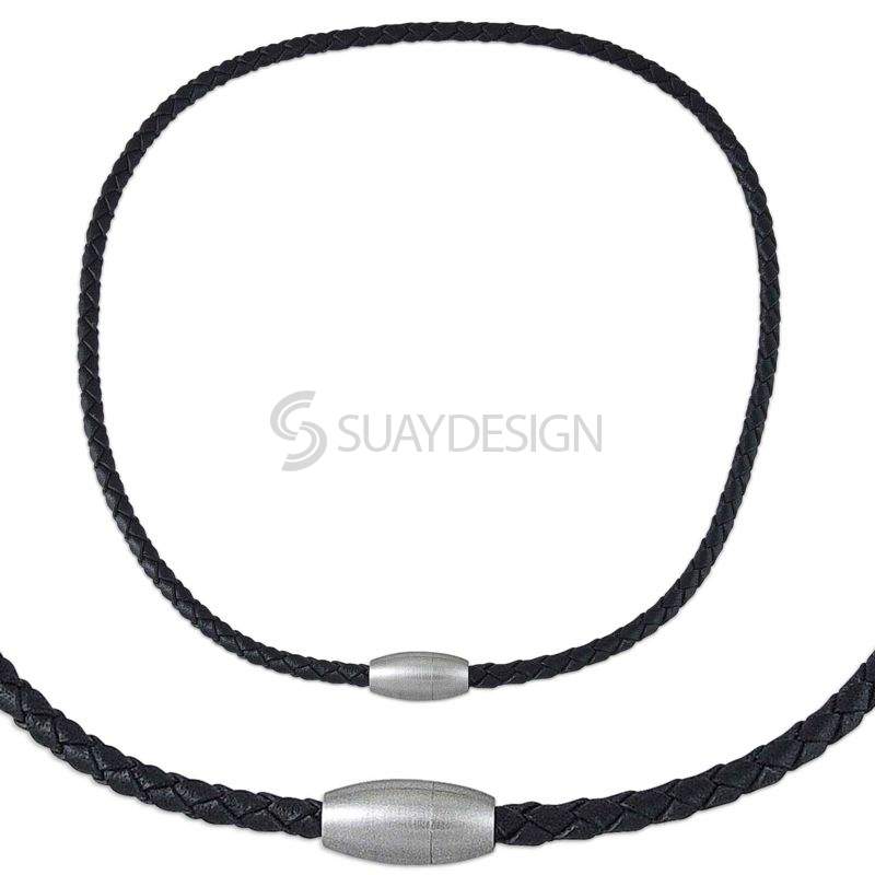 Woven Black 4mm Leather Necklace with a Magnetic Clasp