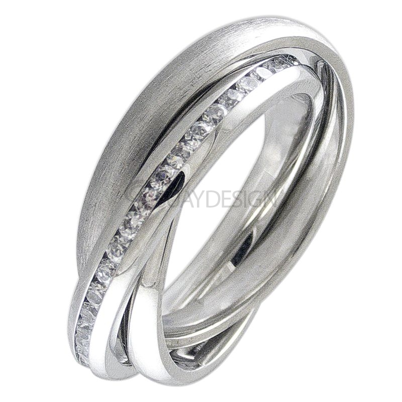 Women's Interlocking Steel & Cubic Zirconia Crystal Ring