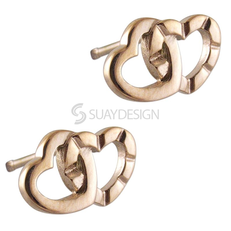 Women's Rose Gold Interlocking Steel Heart Earrings