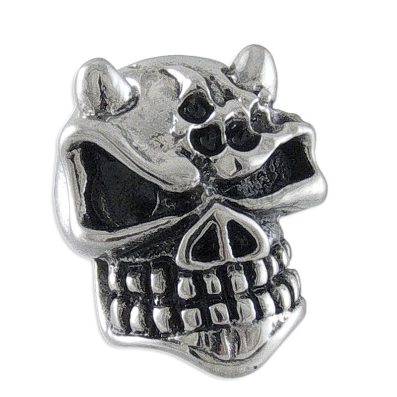 Horned Steel Skull Earring