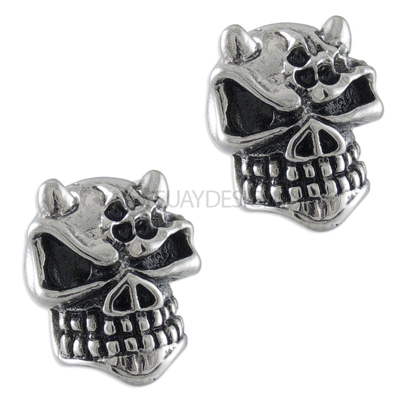 Horned Steel Skull Earrings