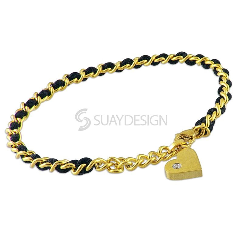 Women's Black Silk & 14Kt Gold Steel Heart Charm Adjustable Bracelet