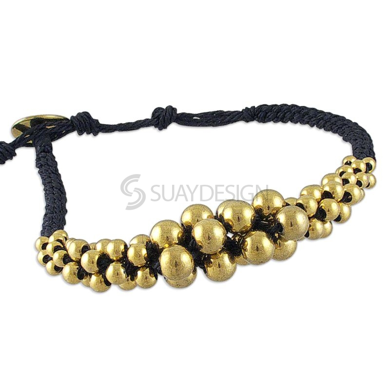 Women's Adjustable Black Cotton Bracelet with 14Kt Gold Plated Polished Spheres