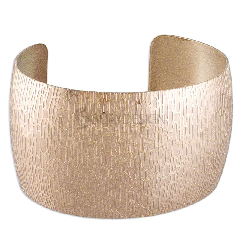 Women's Wood Grain Effect Rose Gold Plated Steel Cuff