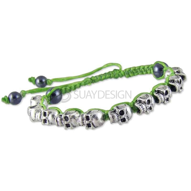 Women's Adjustable Green Cotton Friendship Bracelet with Skulls