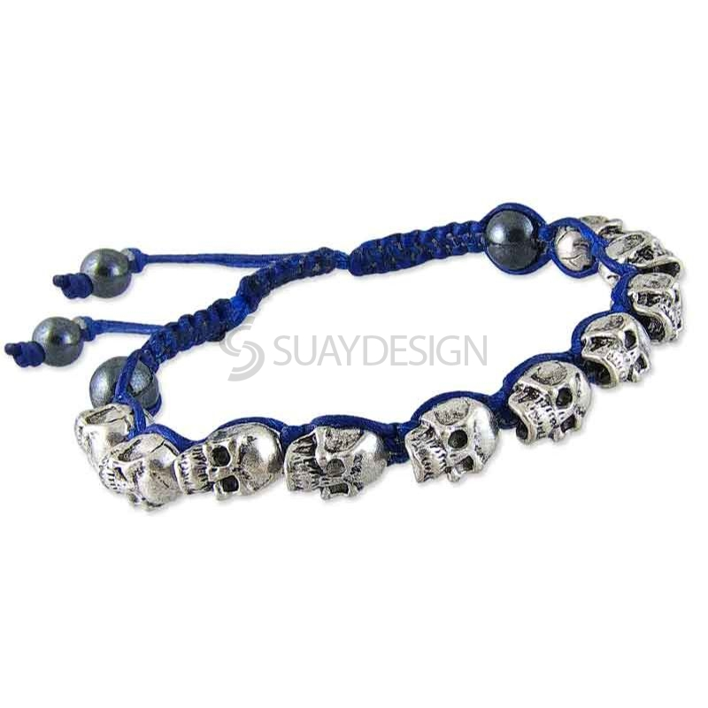 Women's Adjustable Blue Navy Cotton Friendship Bracelet with Skulls